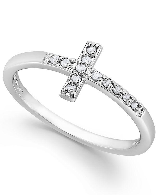 Macy's Diamond Cross Ring in Sterling Silver (1/10 ct. t.w.)