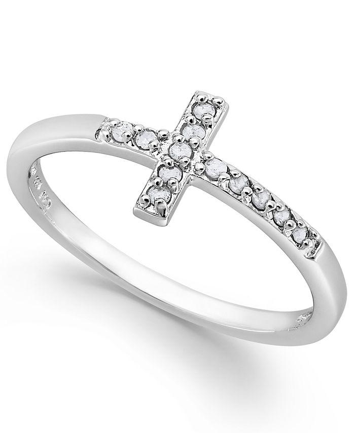 Macy's - Diamond Cross Ring in Sterling Silver (1/10 ct. t.w.)