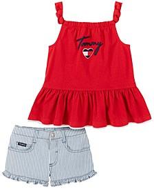 Toddler Girls Pointelle Babydoll and Pinstripe Denim Shorts, 2 Piece Set