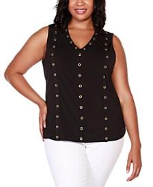 Black Label Plus Size Embellished Sleeveless V-Neck Top