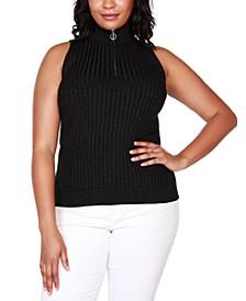 Black Label Plus Size Sleeveless Mock-Neck Zip Sweater