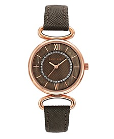 Woman's Taupe Genuine Leather Strap Watch 32mm