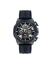 Men's Chronograph Blue Silicon Strap Watch 45mm