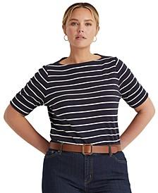 Plus Size Striped Cotton Boatneck T-Shirt