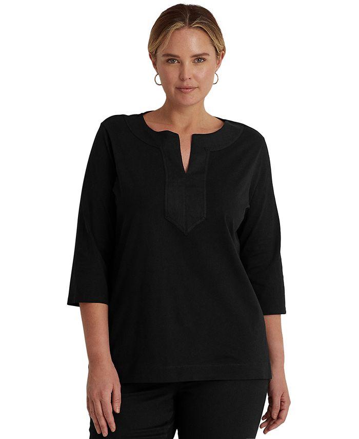 Lauren Ralph Lauren - Plus Size Split-Neck Tunic