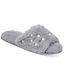 Women's Imitation Pearl Faux-Fur Slide Slippers, Created for Macy's