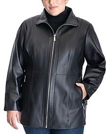 Plus Size Leather Coat