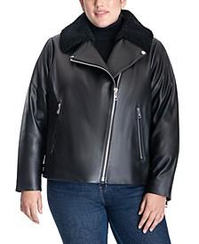 Plus Size Faux-Fur Collar Moto Leather Jacket
