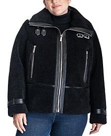Plus Size Sherpa Moto Coat