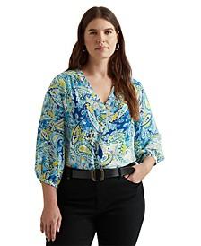 Plus-Size Paisley Georgette Top