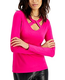 Plus Size Cross-Front Long-Sleeve Top, Created for Macy's