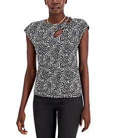Petite Printed Cutout-Detail Top, Created for Macy's