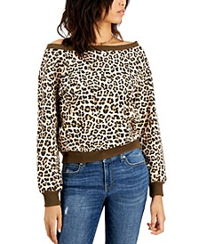Petite Printed Off-The-Shoulder Sweatshirt, Created for Macy's
