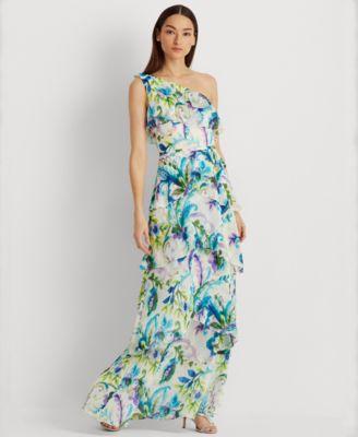 로렌 랄프로렌 Lauren Ralph Lauren Ruffled One-Shoulder Gown,Cream/Blue Multi