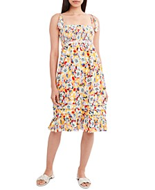 Floral-Print Smocked Woven Midi Dress
