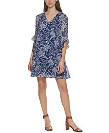 Ruffled-Sleeve Chiffon Dress