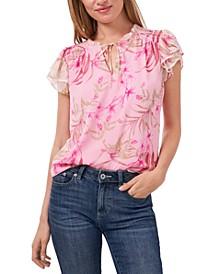 Floral-Print Tie-Neck Smocked-Shoulder Blouse