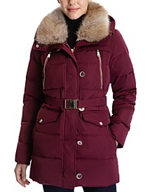 Faux-Fur-Collar Hooded Puffer Coat, Created for Macy's