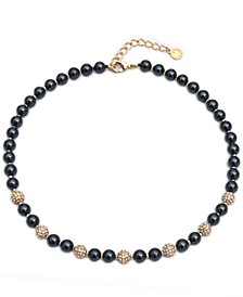 """Gold-Tone Pavé Fireball & Imitation Pearl Collar Necklace, 17"""" + 2"""" extender, Created for Macy's"""