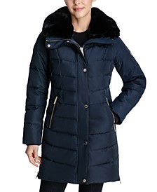 Petite Faux-Fur-Collar Puffer Coat, Created for Macy's