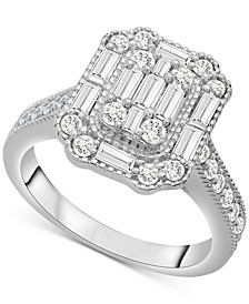 Diamond Baguette Cluster Ring (1 ct. t.w.) in 14k White Gold or 14k Yellow Gold, Created for Macy's