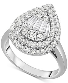 Diamond Teardrop Cluster Statement Ring (1 ct. t.w.) in 14k White Gold or 14k Yellow Gold, Created for Macy's