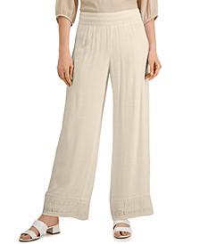Petite Gauze Lace-Hem Pants, Created for Macy's