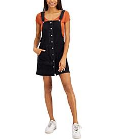 Juniors' Patch Pocket Overall Dress