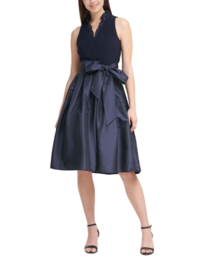 Ruffle-Neck Fit & Flare Party Dress