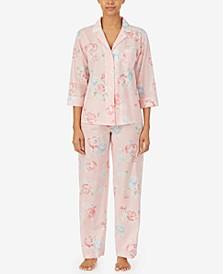 Printed Notch-Collar Top & Pants Pajama Set