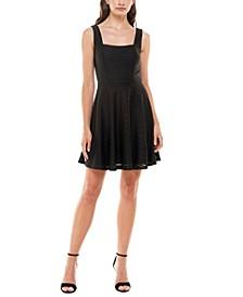 Juniors' Square-Neck Fit & Flare Dress