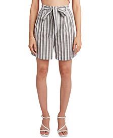 Woven Striped Tie-Waist Long Shorts