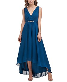 Surplice-Neck High-Low Gown