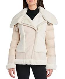 Faux-Shearling Puffer Coat