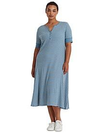 Plus-Size Striped Cotton Henley Dress