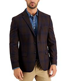 Men's Modern-Fit Brown/Blue Plaid Blazer