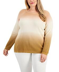 Plus Size Cotton Ombré Sweater