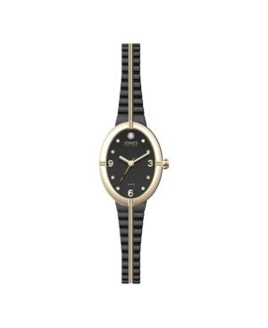 Jones New York Women's Genuine Diamond Gold-Tone and Black Expansion Metal Bracelet Analog Watch 37mm
