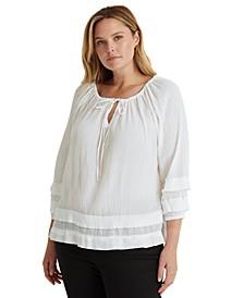 Plus-Size Ruffle-Trim Crinkle Cotton Top