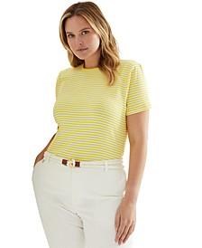 Plus-Size Striped Cotton-Blend T-Shirt