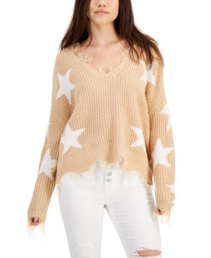 Juniors' Distressed Star Sweater