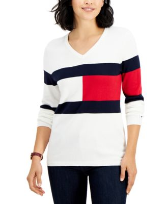 Ivy Logo V-Neck Cotton Sweater, Created for Macy's