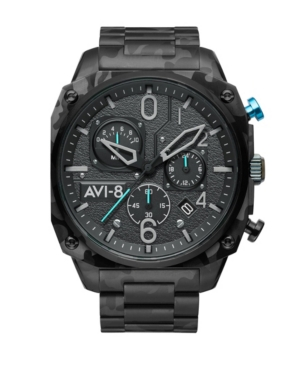 Men's Hawker Hunter Retrograde Chronograph Night Camo with Black-Tone Solid Stainless Steel Bracelet Watch 45mm