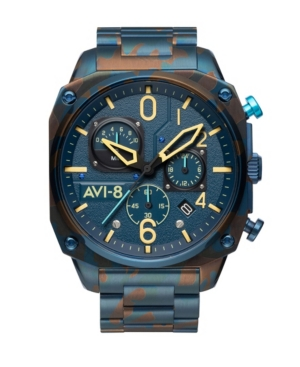 Men's Hawker Hunter Retrograde Chronograph Air Camo with Blue-Tone Solid Stainless Steel Bracelet Watch 45mm