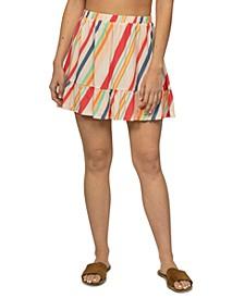 Juniors' Tiered Rainbow Mini Skirt