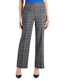 Petite Pull-On Plaid Pants