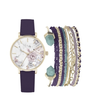 Women's Analog Purple Strap Watch 36mm with Floral Dial and Stackable Bracelets Set