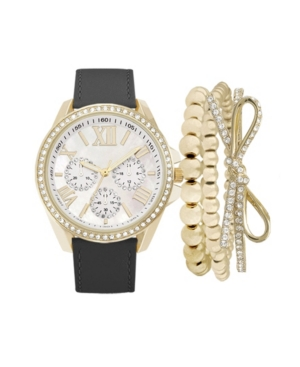 Women's Analog Black Strap Watch 38mm with Bow Stackable Bracelets Cubic Zirconia Gift Set