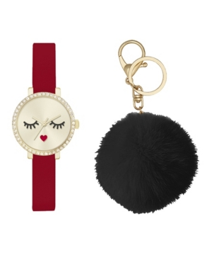 Women's Analog Red Strap Glam Watch 28mm with Black Fluff Ball Key Chain Cubic Zirconia Gift Set