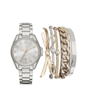 Women's Analog Tri-Toned Metal Strap Watch 36mm with Stackable Bracelets Cubic Zirconia Gift Set